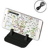 【SCHITEC】 シリコン 車載ホルダー 携帯車載GPSホルダー iPhone&Android スタンド ダッシュボード対応 充電ケーブル付き スマホスタンド 滑り止めスマートフォンホルダー (ブラック)