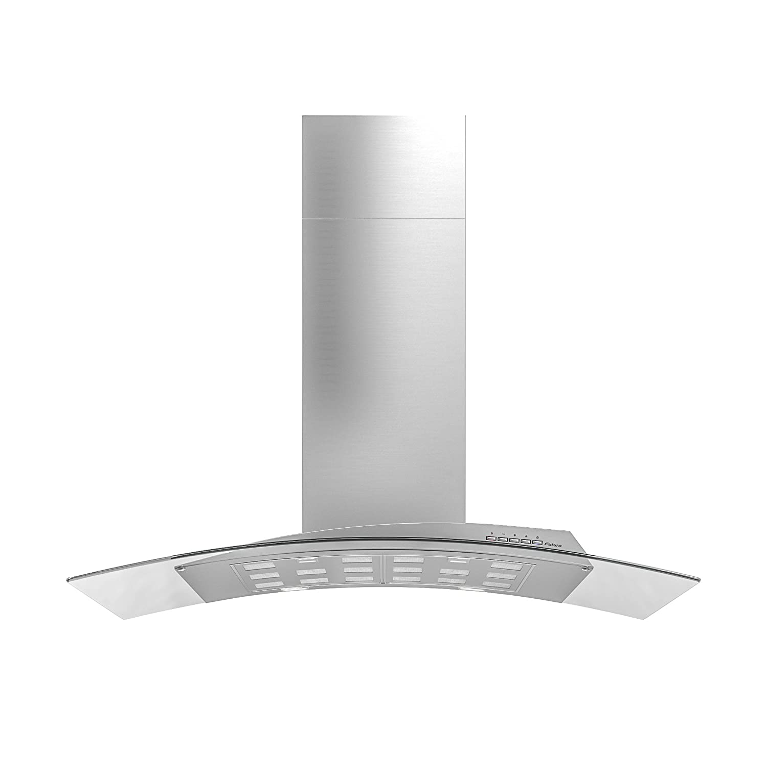 Futuro Futuro Acqualina Glass 36 Inch Wall-mount Contremorary Range Hood - Modern Stainless Steel & Glass Vent Hood - LED, Ultra-Quiet with Blower