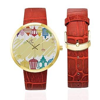Reloj de Pulsera de Cuero Dorado para Mujer con decoración ...