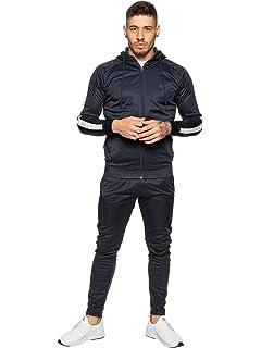 Mens Crosshatch Tracksuit Sweatshirt Hooded Joggers Bottom Top Fleece Winter New