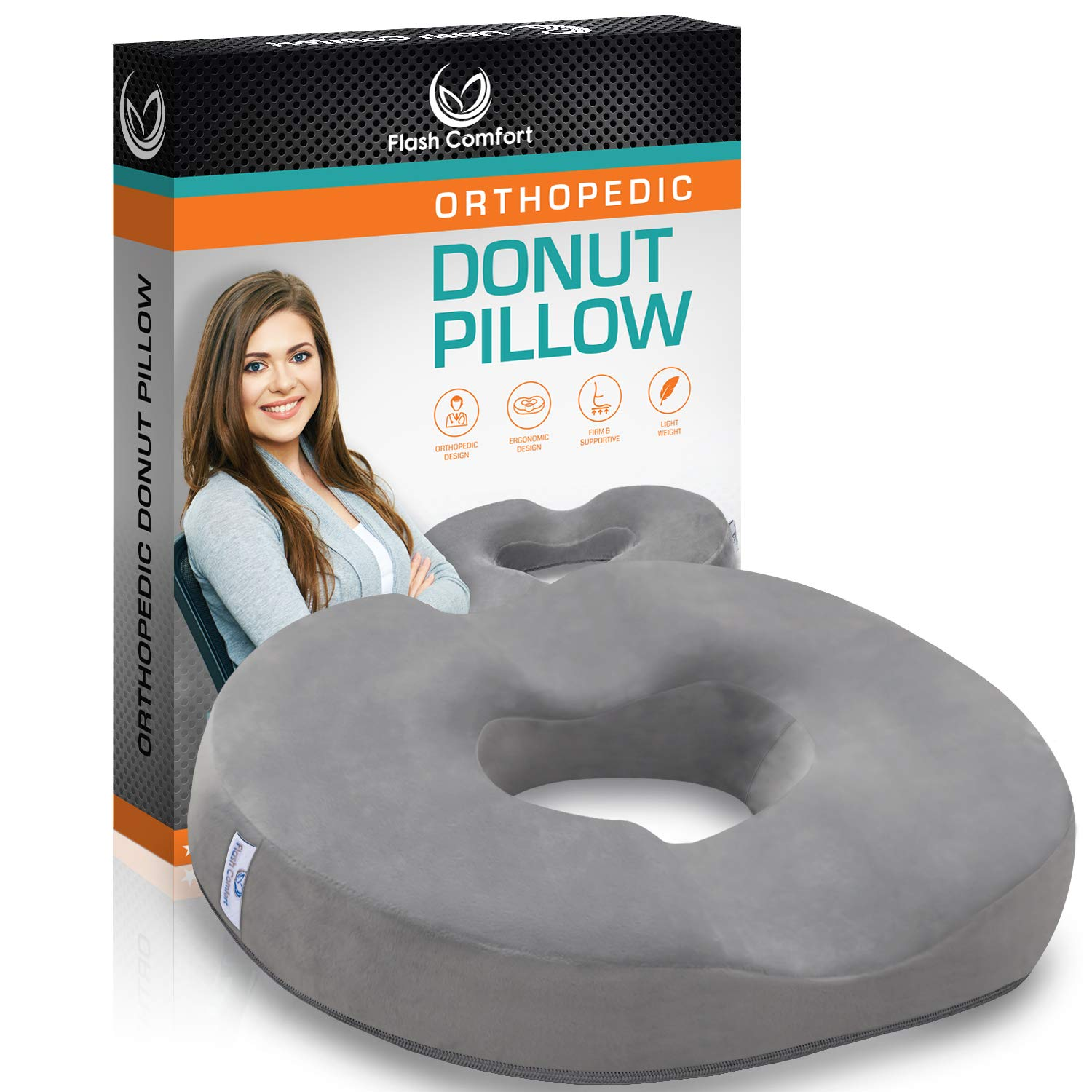 Luxury Donut Tailbone and Coccyx Pillow | Medical Firm Sitting Seat Cushion | Relief from Hemorrhoids, Prostate, Back Pain, Post Natal Orthopedic Surgery, Pregnancy and More | 100% Memory Foam | Gray by Flash Comfort