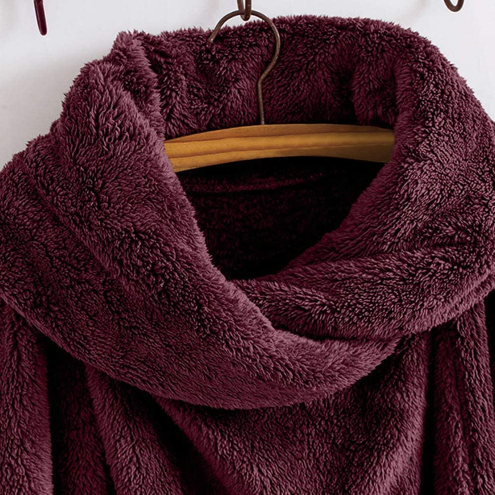 FEDULK Womens Coat Winter Warm Turtleneck Solid Cloak Vintage Oversized Outwear Overcoat