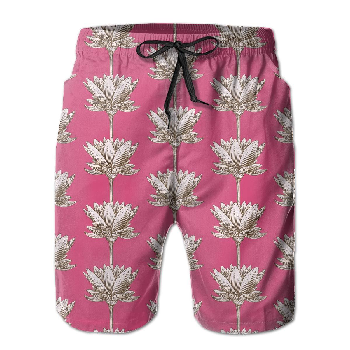 UHT28DG Lotus Pattern Mens Beach Board Shorts Drawstring Bathing Suit