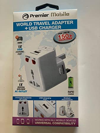 Travel Adapter Usb Charger Premier Mobile Good In 150 Countries Amazon Com