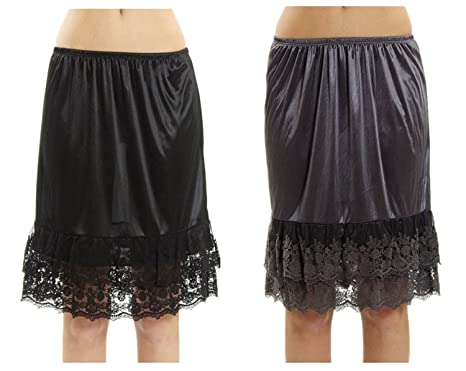 """dba8ad7a1f9b Double Lace Half Slip Satin Skirt Extender- 21"""" Length (Small,  Charcoal-"""