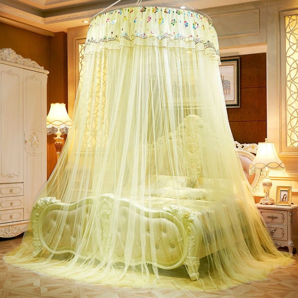 Mosquito Net Princess Lace Bed Canopy For Children Fly Insect Protection Indoor Decorative Height 2.8m For 1.8-2m Bed,Yellow