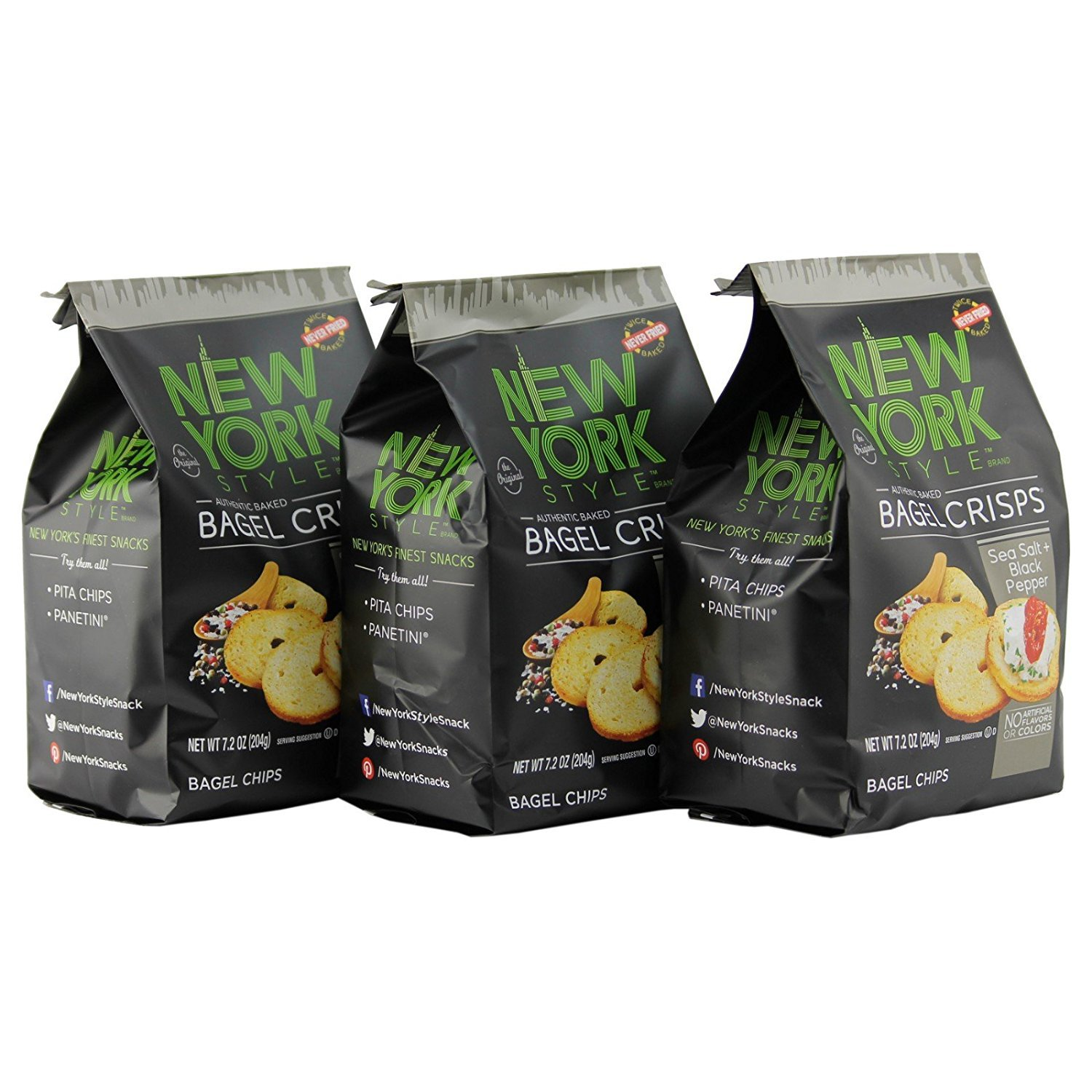 New York Style Bagel Crisps SEA SALT & CRACKED PEPPER, 7.2 Ounce - (Pack of 3) Add Some Extra Crunch by New York Style