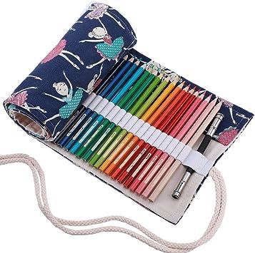 Abaría - Bolso de lapices Bolsa de Almacenamiento Hecho de Mano Estuche Enrollable lápices de Lona, Chica 72 Agujeros: Amazon.es: Electrónica