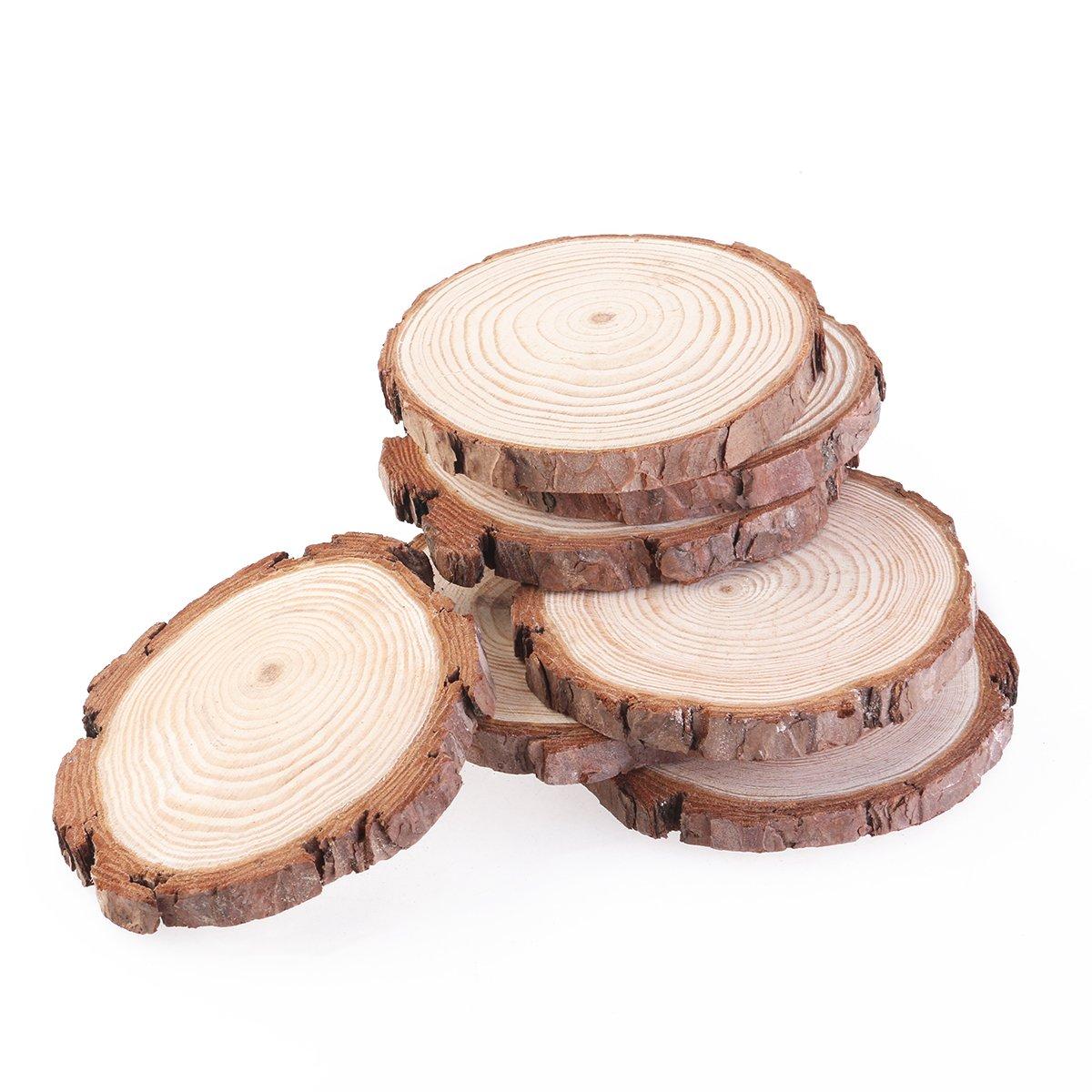 ottimi come centrini da matrimonio,7-9/cm Confezione da 10 colore: Legno NUOLUX Dischi di legno per bricolage