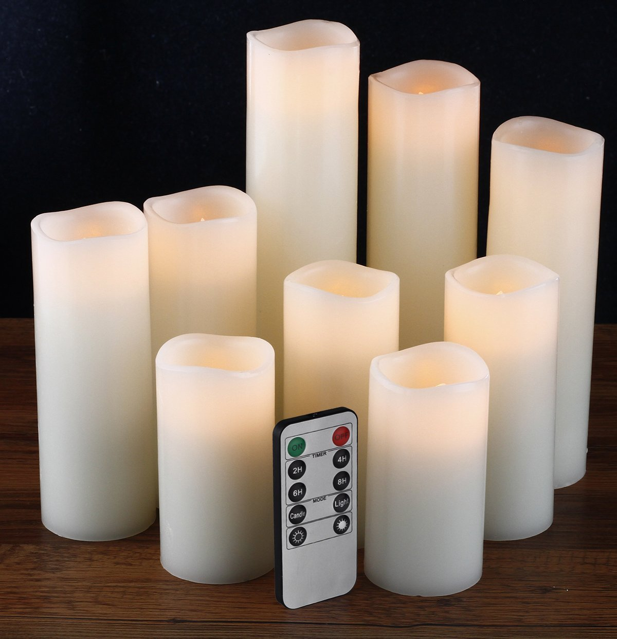 Flameless Candles, Led Candles Set of 9(H 4'' 5'' 6'' 7'' 8'' 9'' xD 2.2'') Ivory Real Wax Battery Candles With Remote Timer by (Batteries not included) by comenzar (Image #2)