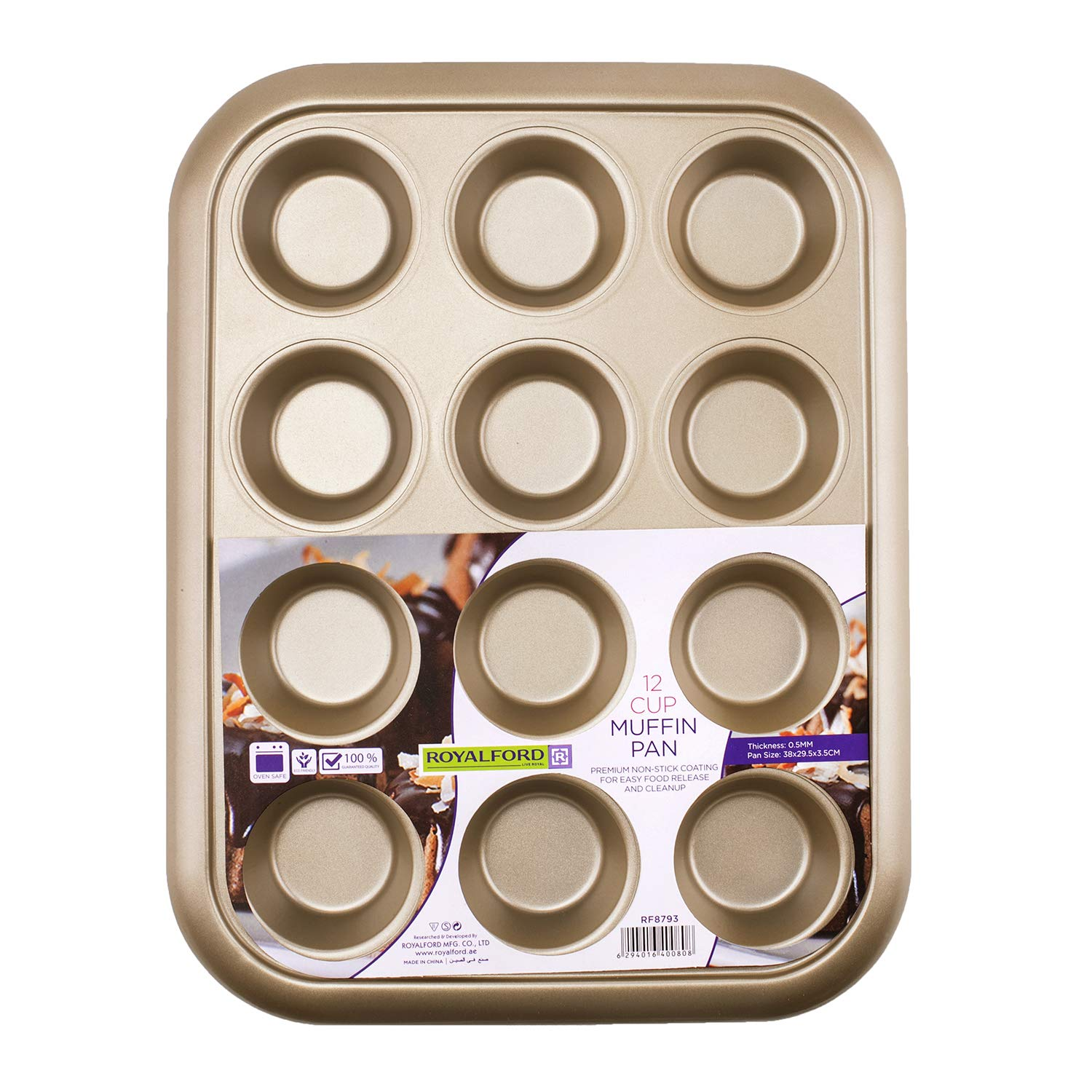 Royalford 12 Cup Muffin Pan, Oven-Safe Muffin and Cupcake Tray, Essential Non-Stick Yorkshire Pudding Tray for Baking