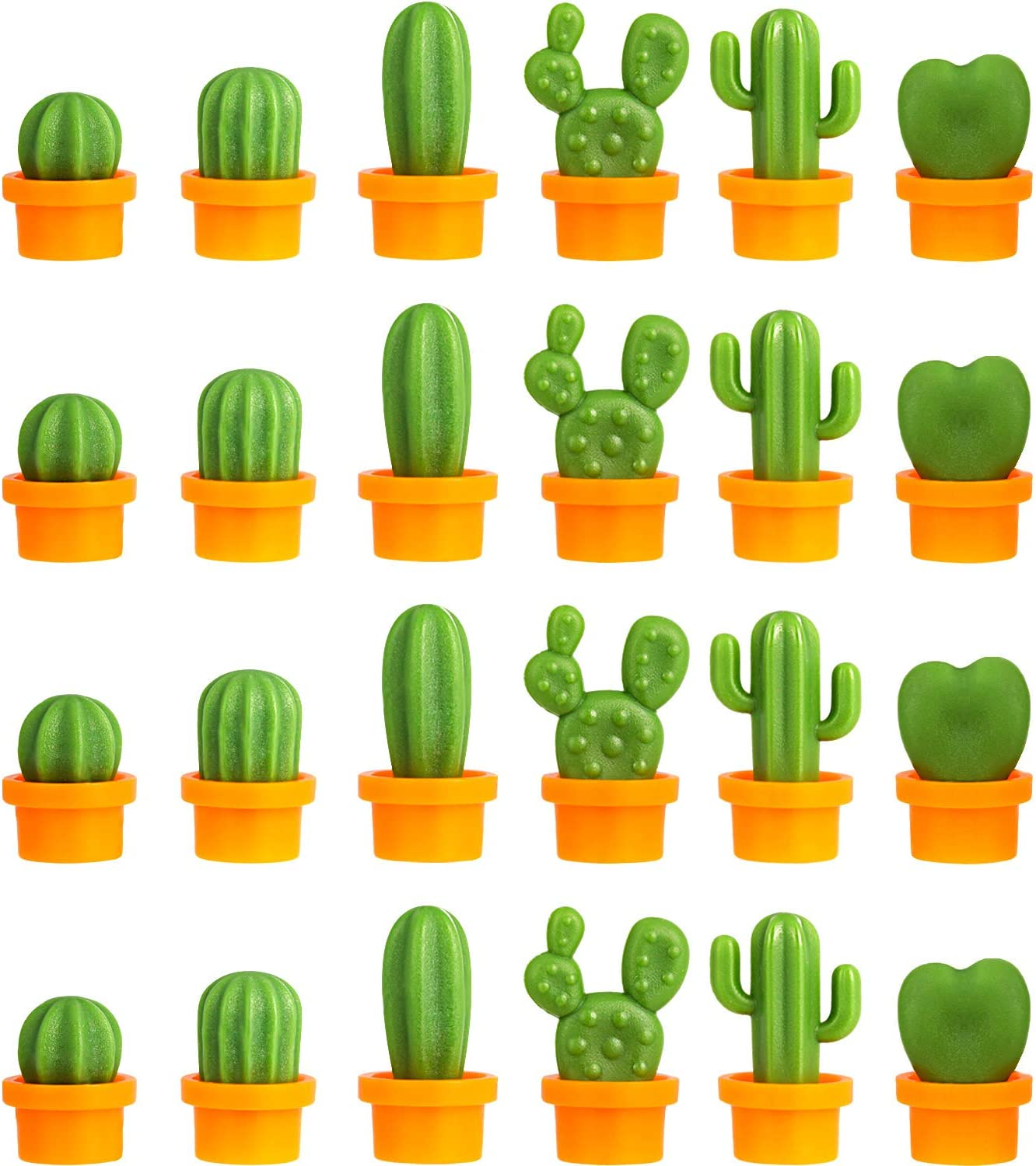 24 Pieces Cactus Refrigerator Magnets Cute Kitchen Magnets Mini Cactus Home Magnets for Home Kitchen Office Whiteboard Decoration Supplies