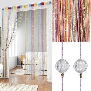 2 Pcs Crystal Beaded Curtain Tassel Curtain - Partition Door Curtain Beaded String Curtain Door Screen Panel Home Decor Divider Crystal Tassel Screen 90x200cm (Rainbow-2Pcs)