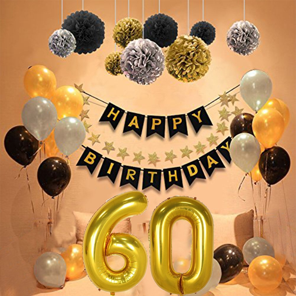 60th Birthday Party Decorations Kit Gold Number 60 Ballon 30pcs Black Silver And Latex 9pcs Tissue Paper Pom Poms For Years Old