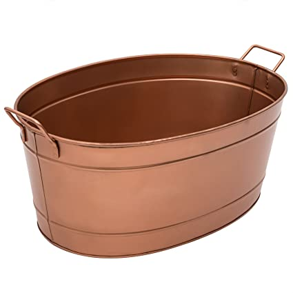 Amazon.com : Achla Designs Oval Copper Plated Galvanized Tub : Wood ...