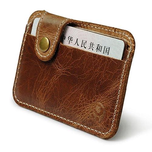 Retro Leder Bifold Schlank Geldbörse Portemonnaie Kreditkarte Geldbeutel Braun