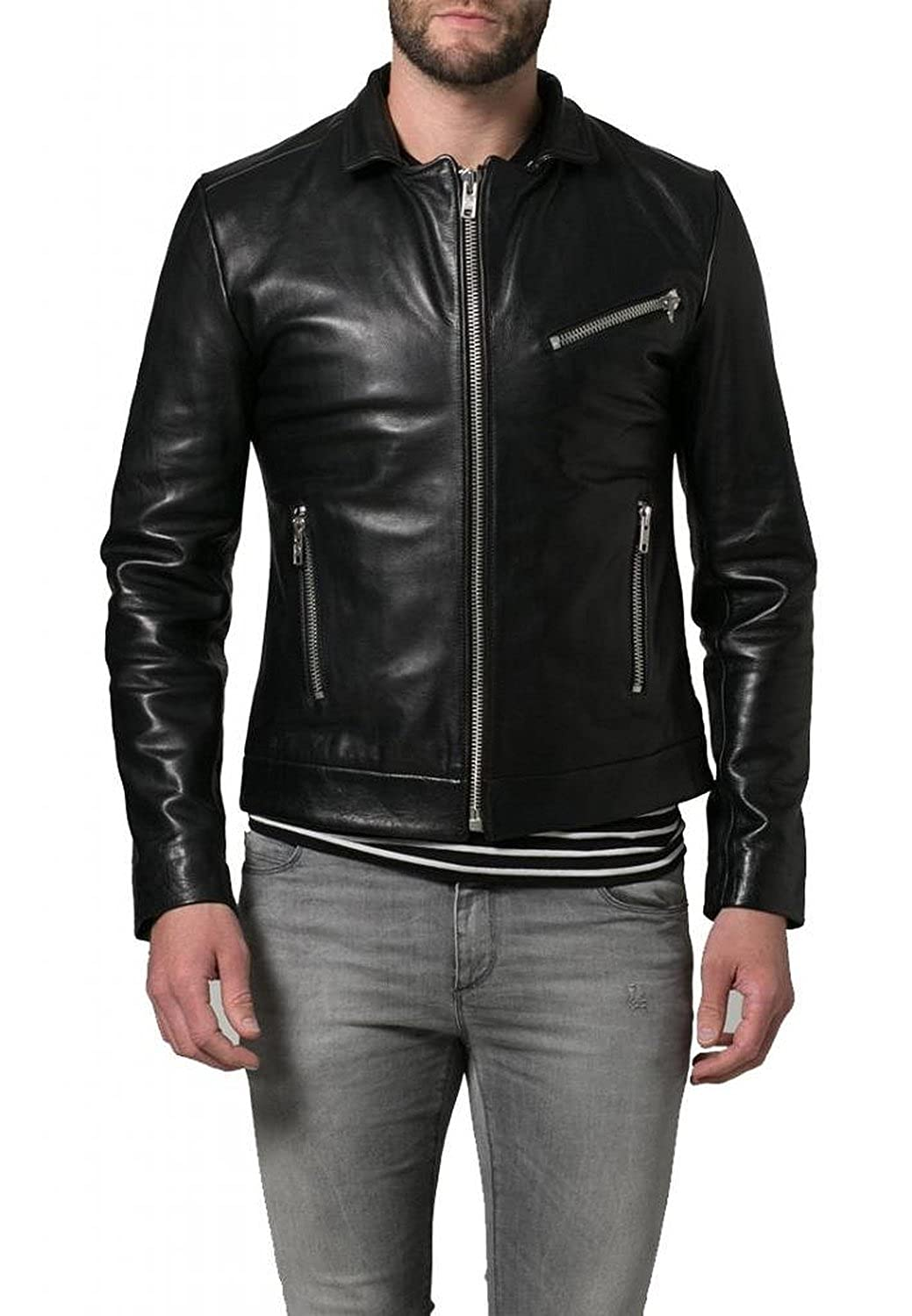 Laverapelle Men's Cow Skin Real Leather jacket Black - 1510559