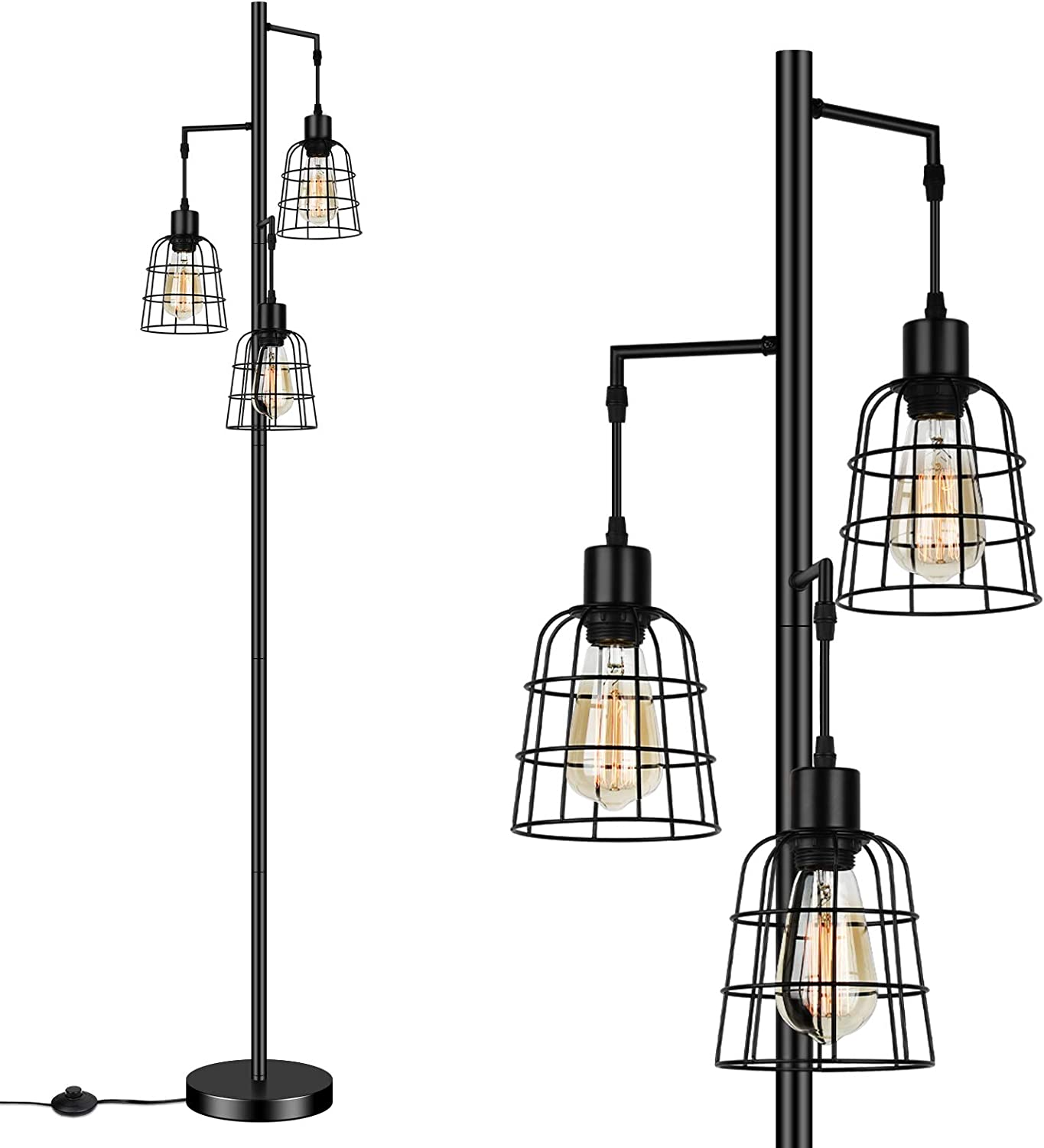 Industrial 3-Light Tree Floor Lamp with Cup-Shaped Cages Farmhouse Rustic Tall Standing Lamp for Living Room Vintage Elegant Black Pole Light with Edison E26 Base Metal Shade for Bedroom Office Hotel