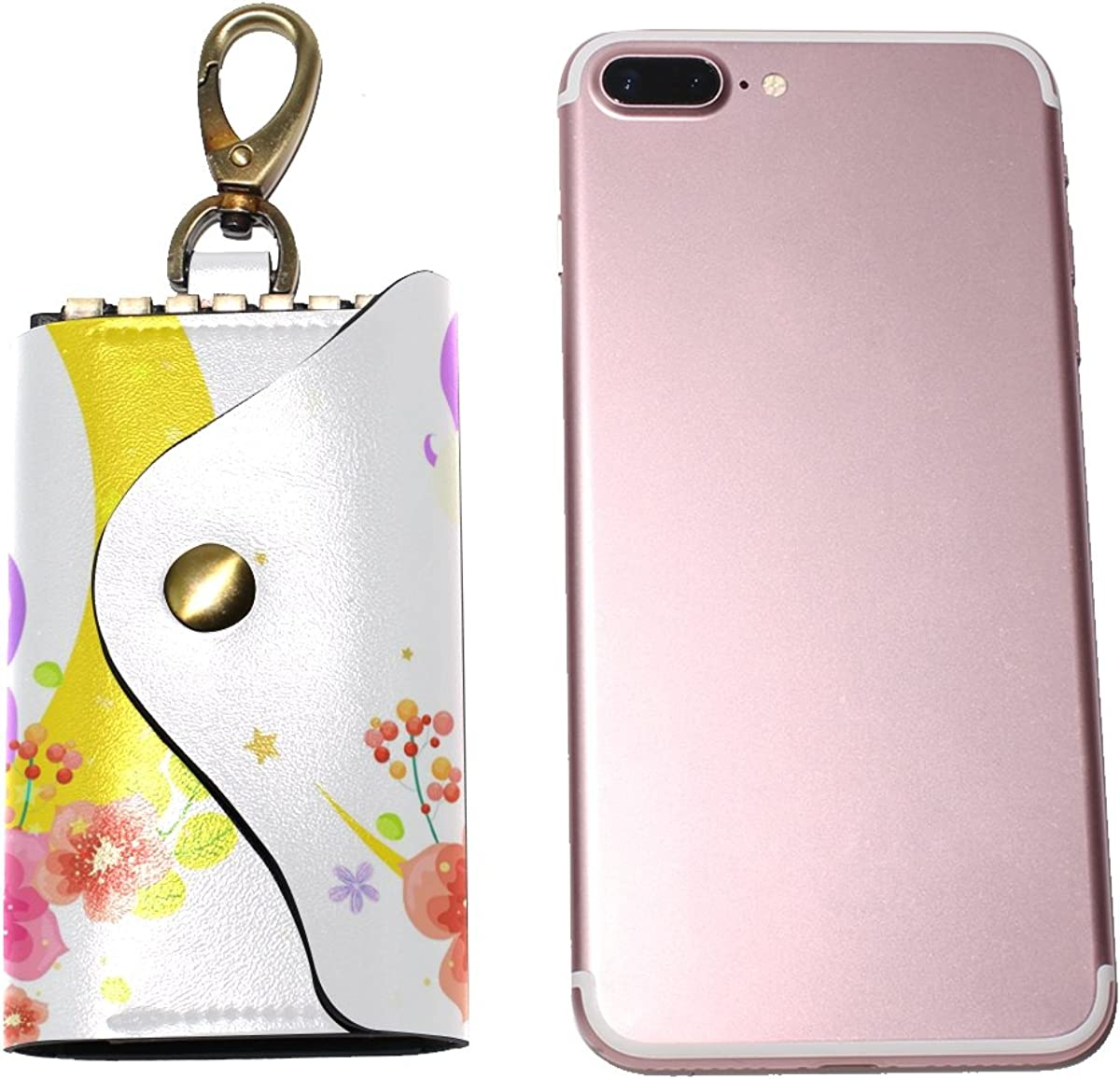 DEYYA Uncommon Unicorn Leather Key Case Wallets Unisex Keychain Key Holder with 6 Hooks Snap Closure