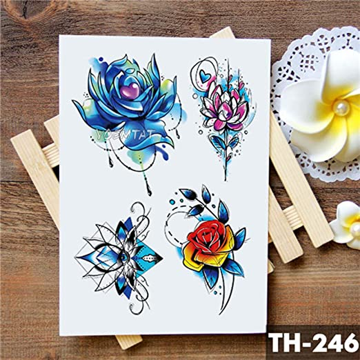tzxdbh 2 Unids-Floral Acuarela Etiqueta Engomada del Tatuaje Flor ...