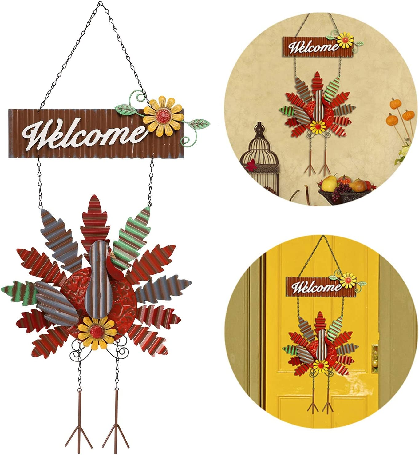 yosager Thanksgiving Metal Turkey Hanging Door Sign Wall Decor Welcome Banner, Welcome Front Door Hanger Ornament Festive Whimsical for Halloween Christmas Thanksgiving Decoration