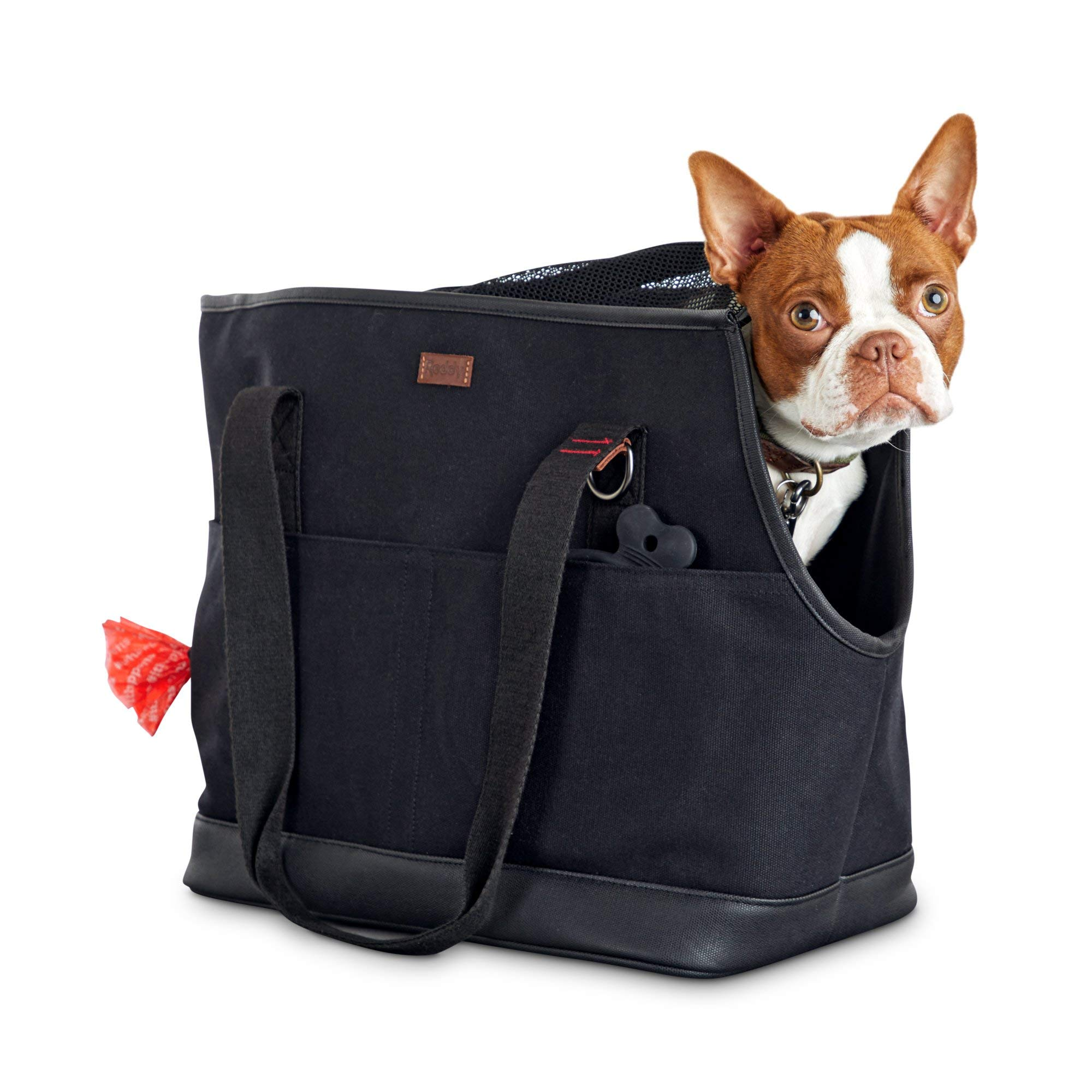 Reddy Black Canvas Dog Carrier Tote, 19'' L x 9'' W x 12'' H, Small