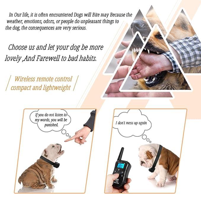 Amazon Com Remote Dog Training Collar Yonrui Shock Collars For Dogs Adjustable Rechargeable And Waterproof 330 Yard Range 4 Modes Shock Light