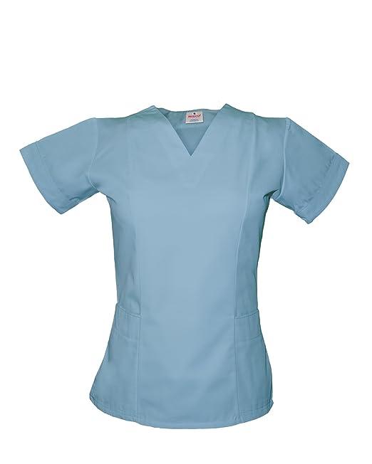 Medco, uniforme de enfermeras con cuello V, T05, color blancoy azul