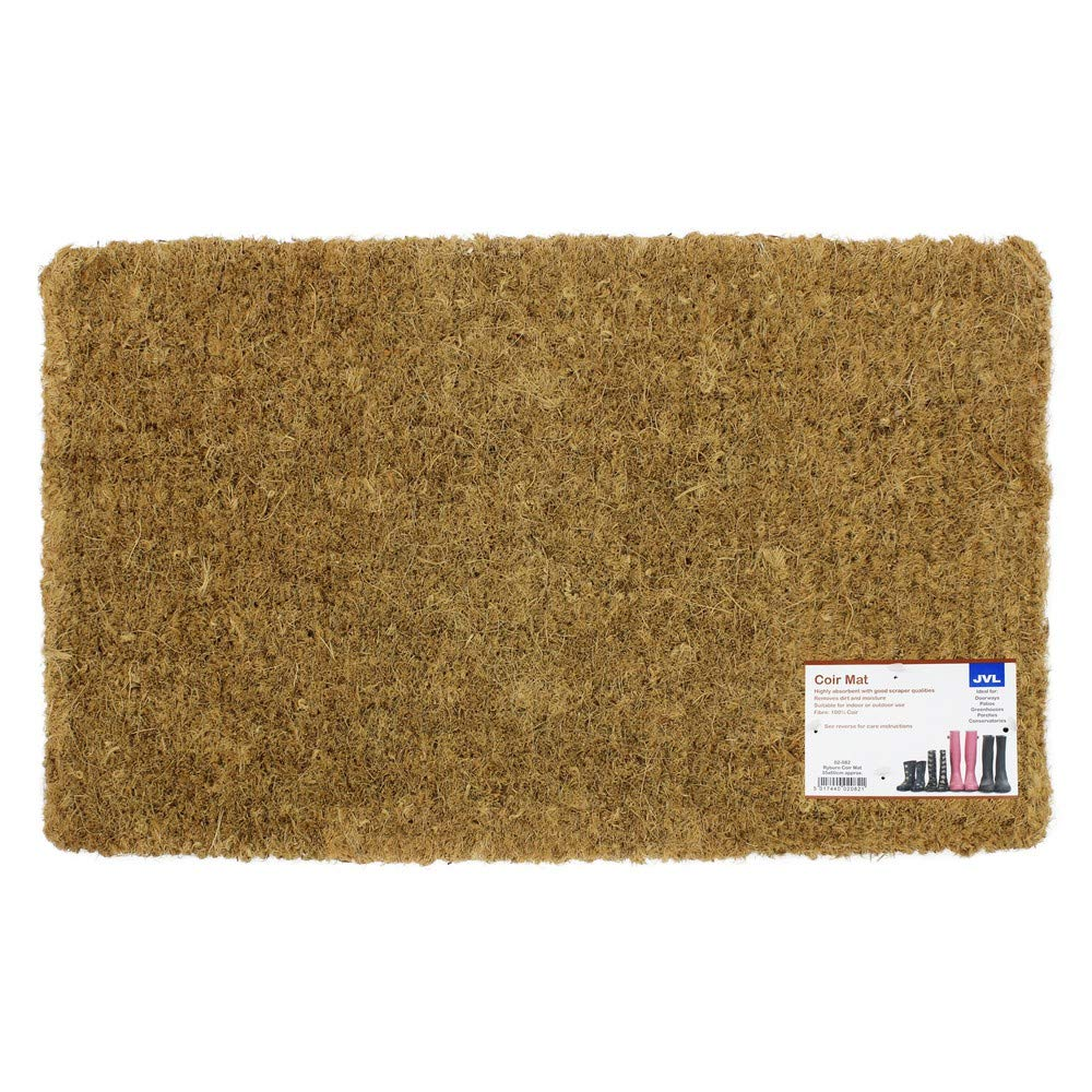 JVL Plain Natural Coir Entrance Door Mat, Vinyl, Brown, 35 x 60 cm 02-082