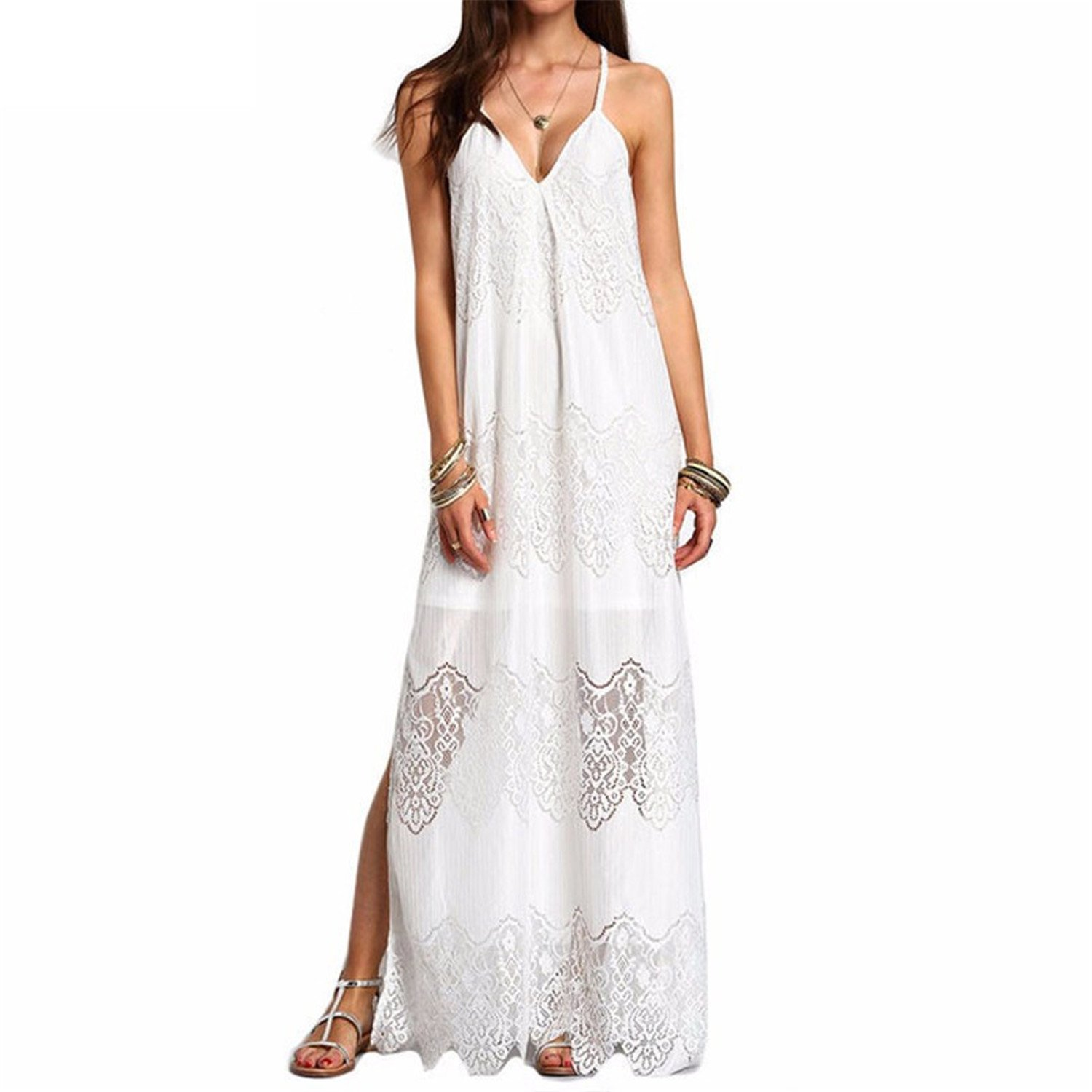 Amazon.com: SuperBlu Fashion Long Maxi Dresses NEW Women Boho Vestidos Summer Beach Wear Cream Deep V Neck Split Slip Sleeveless Dresses Plus Size: Clothing
