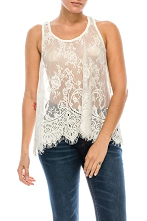 Juicy Spicy Womens Lace Tank Top Cream Large At Amazon