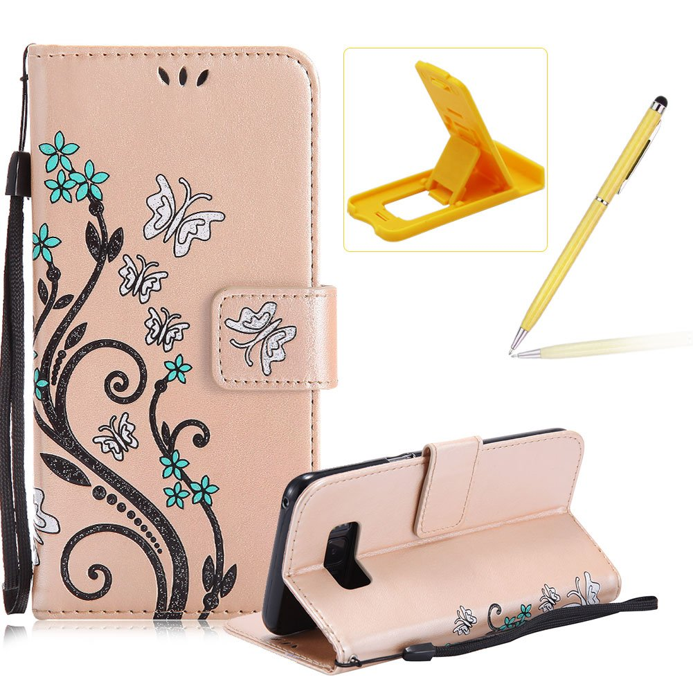 Strap Case for Samsung Galaxy S8 Plus, Smart Leather Cover for Samsung Galaxy S8 Plus, Herzzer Stylish Butterfly Flower Design Wallet Folio Case Full Body PU Leather Protective Stand Cover with Inner Soft Silicone Shell for Samsung Galaxy S8 Plus + 1 x Fre