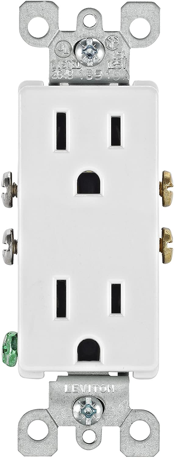Leviton 5325-WMP 15 Amp, 125 Volt, Decora Duplex Receptacle, Residential Grade, Grounding, 10-Pack, White - Electrical Outlets -