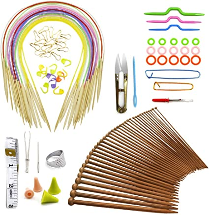 9.8 36 Pieces// 18 Pairs Bamboo Knitting Needles Set Single Point Bamboo Knitting Needles 18 Sizes from 2.0 mm to 10.0 mm Straight Knitting Needles for DIY Handmade Projects