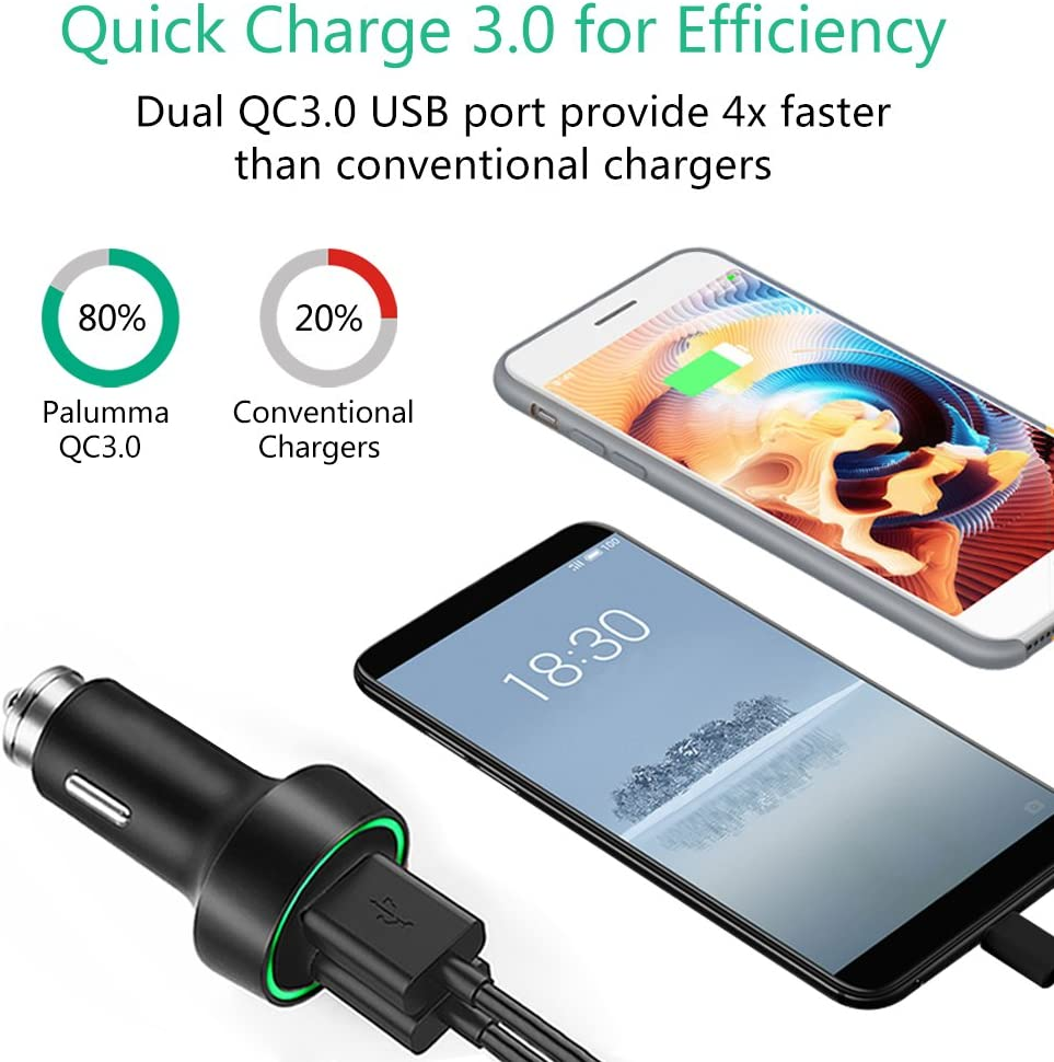 iPad Air//Pro Quick Charge 3.0 Car Charger LG G7//G6//V30//V20 and More QC07 Samsung Galaxy S9//S9 Plus//S8//S8 Plus Note 8 Palumma 39W 6A Dual USB Smart Metal Car Adapter for iPhone X//8//8 Plus