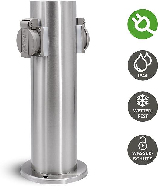 Jardín columna de energía para exteriores con 2 enchufes para 230 V – Enchufe columna redonda en acero inoxidable cepillado con lluvia protección IP44: Amazon.es: Iluminación