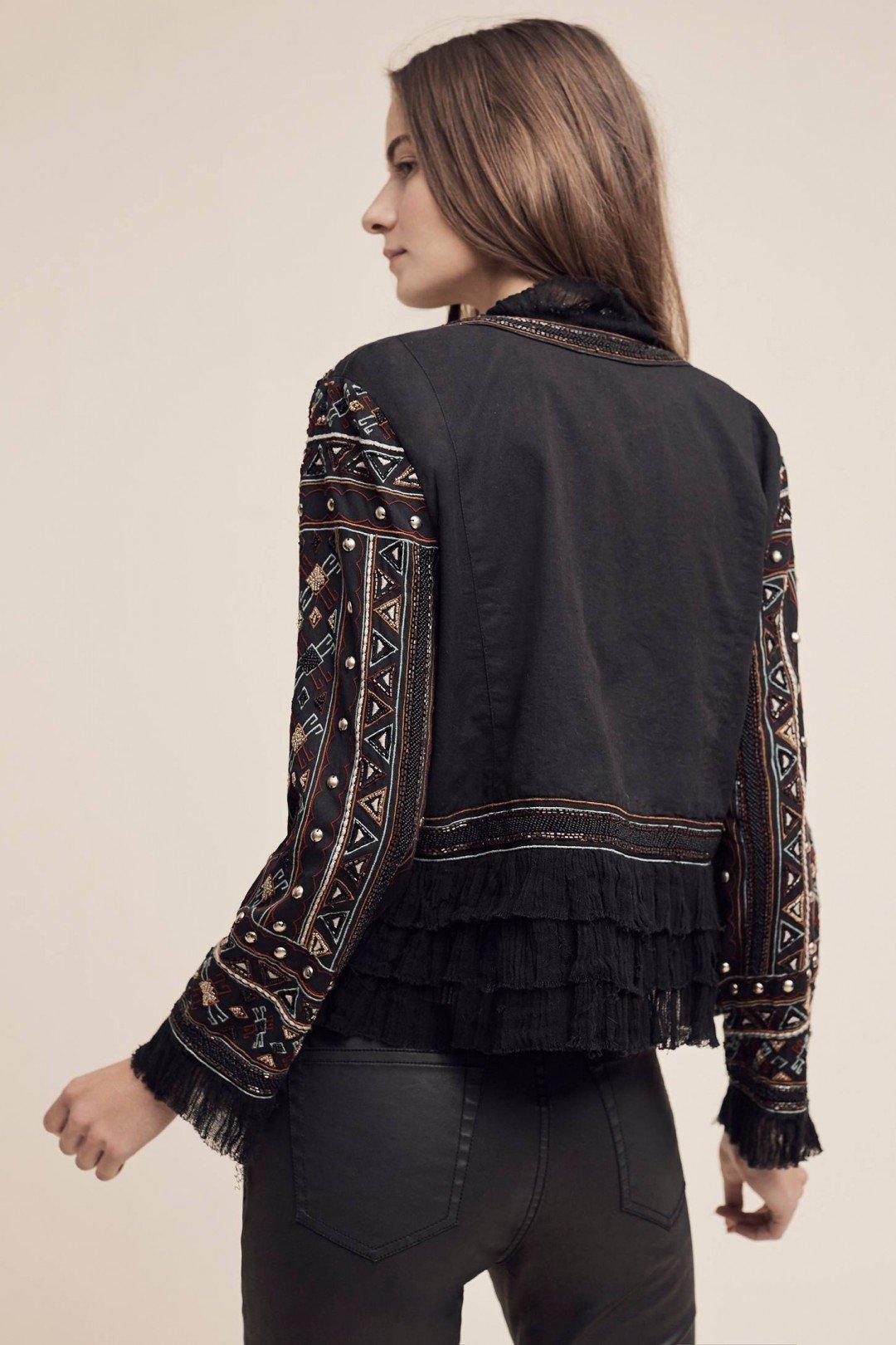 Love Sam Vannes Embroidered Jacket W/Ruffle Trim, Black, XS by Love Sam Vannes Embroidered Jacket, Black, XS (Image #7)