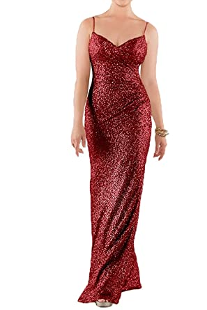 Lanshini Womens Mermaid Sparkly Sequins Bridemaid Dress Sleeveless Evening  Party Gown 054 Burgundy 02 dca347c2b