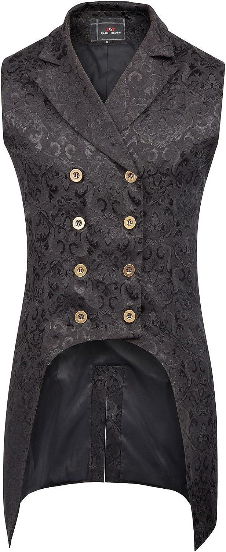 PaulJones Chaqueta de Hombre Vintage Retro Coat Steampunk Gothic Jacquard