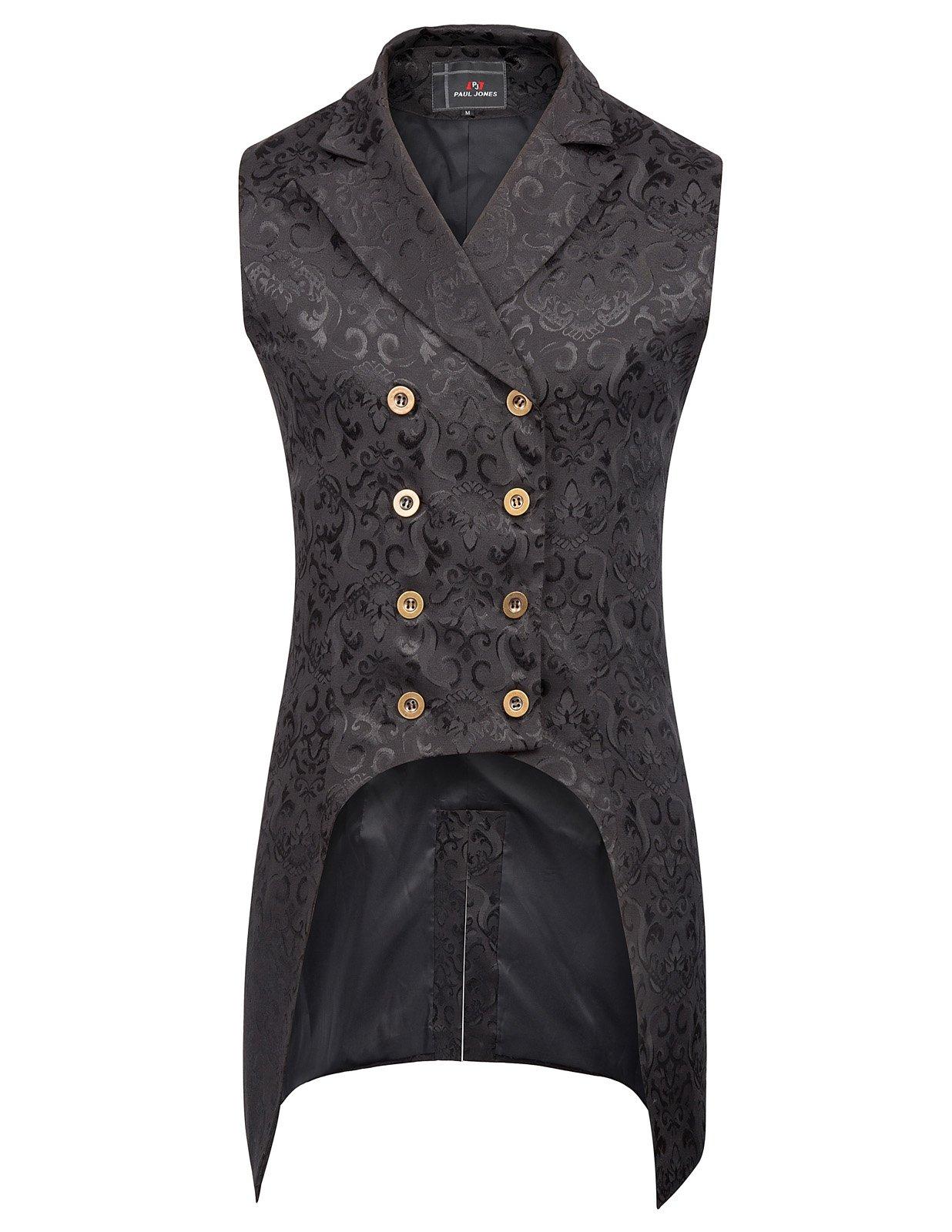 PJ PAUL JONES Mens Victorian Steampunk Waistcoat Gothic Vest M Black by PJ PAUL JONES