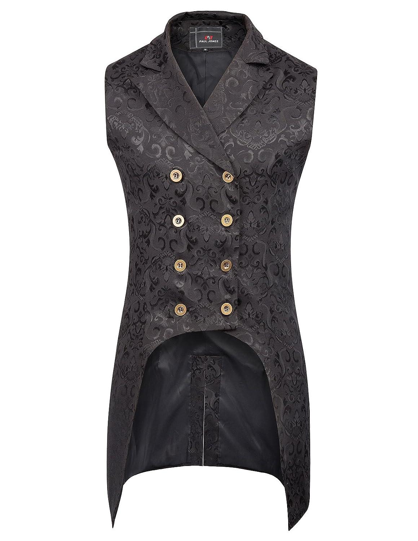 PaulJones Giacca da Uomo Vintage Retro Coat Steampunk Gothic Jacquard