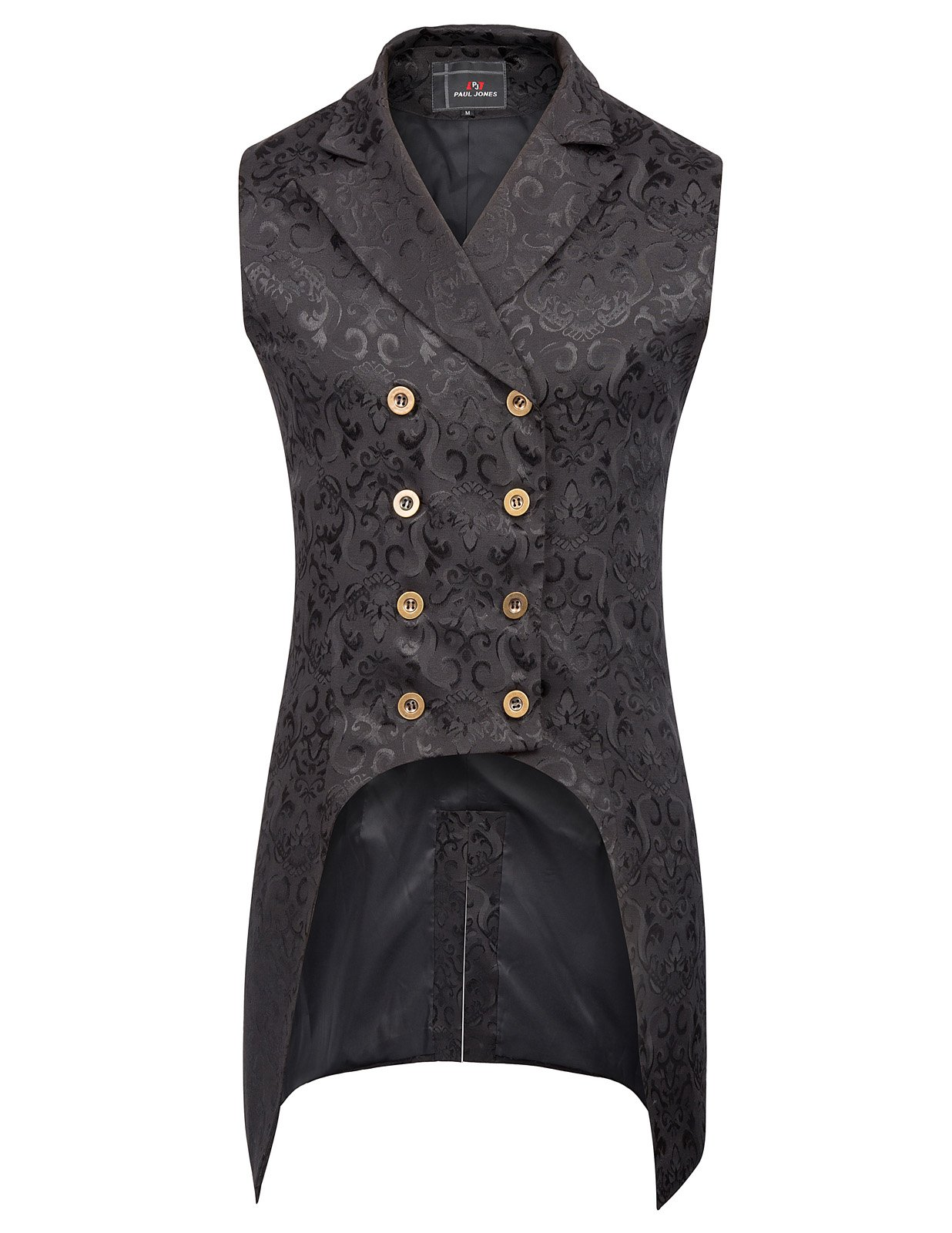 PAUL JONES Mens Gothic Steampunk Vest Waistcoat Black Velvet Jacquard Tailcoat PJ0081-1 S Black