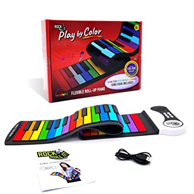 Rock And Roll It - Play by Color Piano [Special Edition]. Portable & Flexible 49 Color Coded Standard Keys + Play-by-Color Song Book. Battery Or USB Powered. Great Choice!: Toys & Games