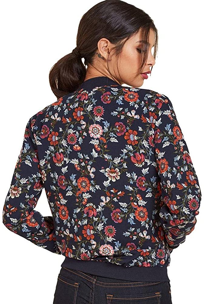 Diamondo Women Long Sleeve Vintage Bomber Jackets Tops Floral Print Autumn Coat