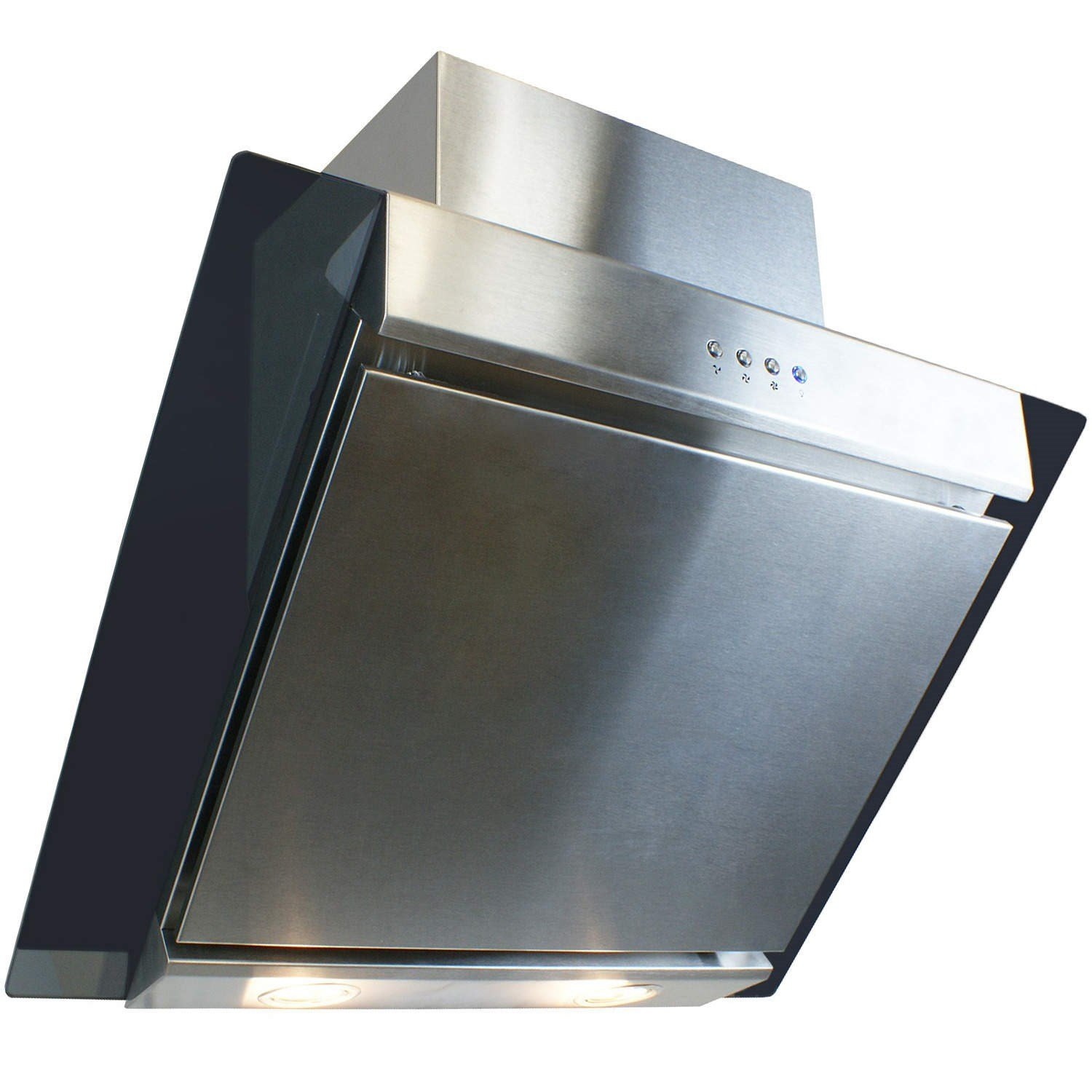 electriQ 60cm Angled Glass and Steel Designer Cooker Hood - 5 Years Parts and 2 Years Labour