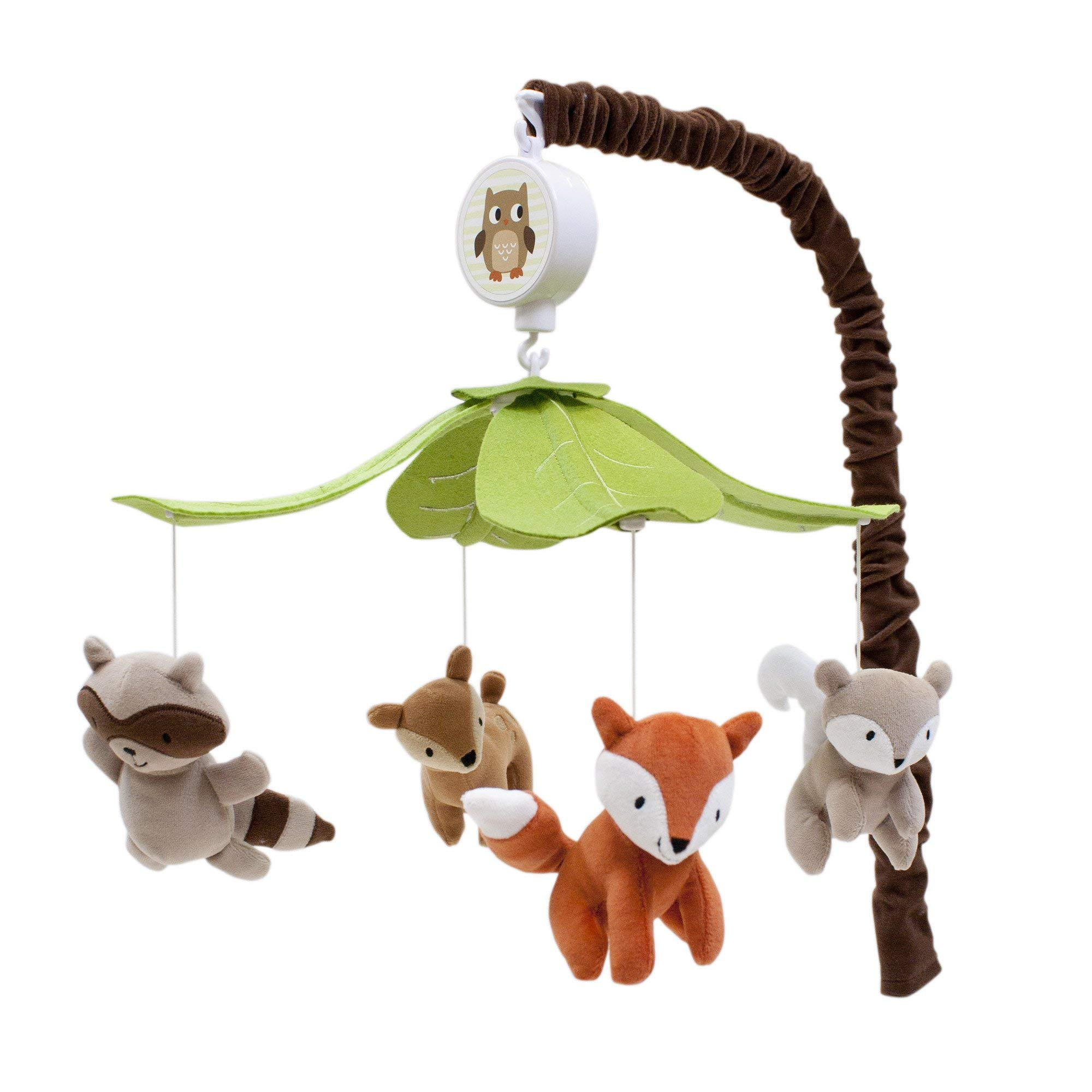 Lambs & Ivy Woodland Tales Musical Mobile - Gray, Brown, Green, Woodland, Owl, Raccoon, Fox, Deer