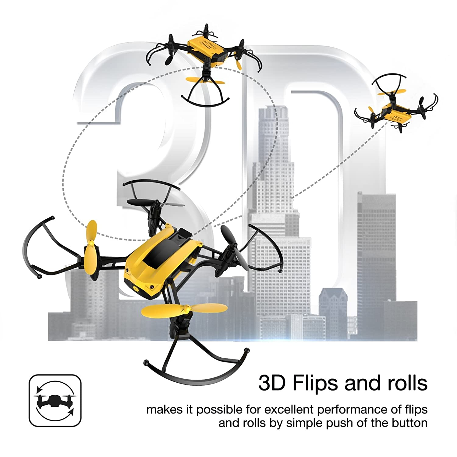 Amazon Holy Stone HS150 Bolt Bee Mini Racing Drone RC Quadcopter RTF 2 4GHz 6 Axis Gyro with 50KMH High Speed Headless Mode Wind Resistance Includes