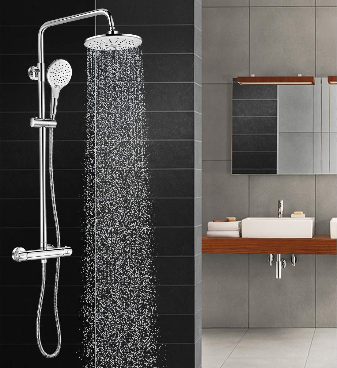 Grifo de ducha incluye cabezal de ducha de lluvia grifo de ducha y ba/ñera dise/ño vintage Sccot lat/ón de lujo acabado en lat/ón envejecido