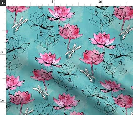 Amazoncom Lotus Flower Fabric Watercolor Modern Floral Decor