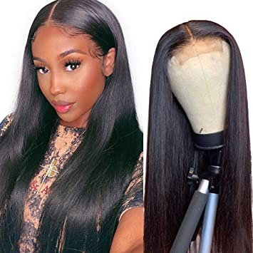 Amazon Com Beauhair 4x4 Lace Front Wigs Straight Hair Brazilian Virgin Human Hair Lace Closure Wigs For Black Women 150 Density Pre Plucked With Elastic Bands Natural Color 18 Inch Straight Wig Beauty